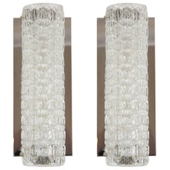 Pair of Vintage Glass Wall Sconces by Hustadt-Leuchten of Germany