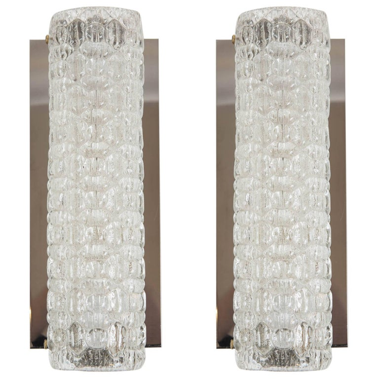 Pair of Vintage Glass Wall Sconces by Hustadt-Leuchten of Germany 1