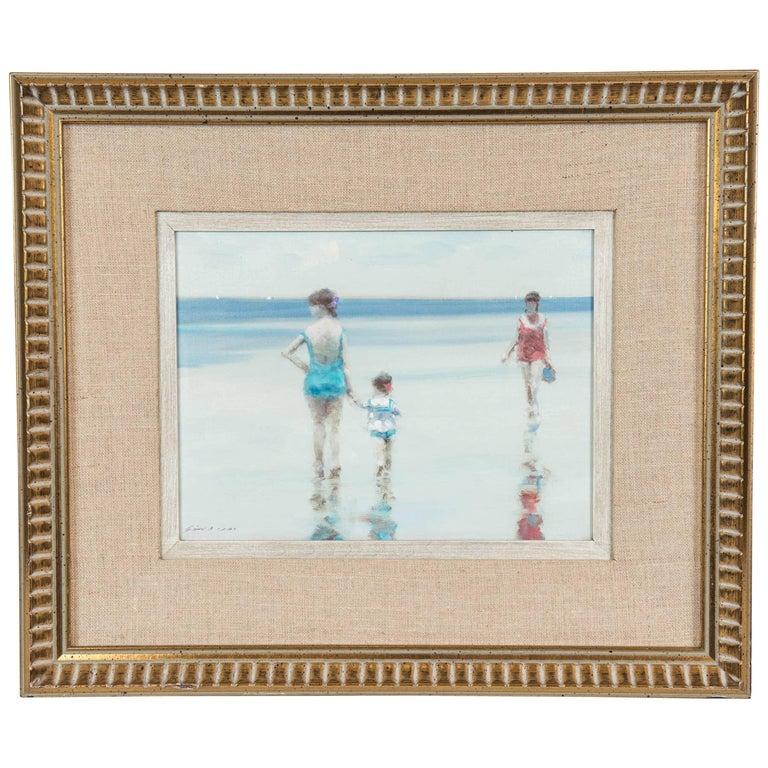 Andre Gisson Beach Scene with Mother and Child, American, circa 1960 For Sale