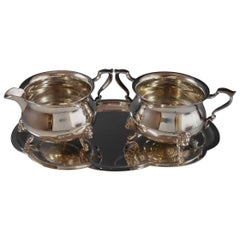 Georgian by Poole Sterling Silver Sugar and Creamer with Applied Lion Head Feet