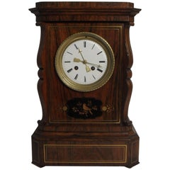 French 19th Century Rosewood and Inlaid Mantel Clock