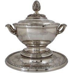 Antique Silver Pot à Oille and Cover with Matching Stand by Risler & Carré Paris