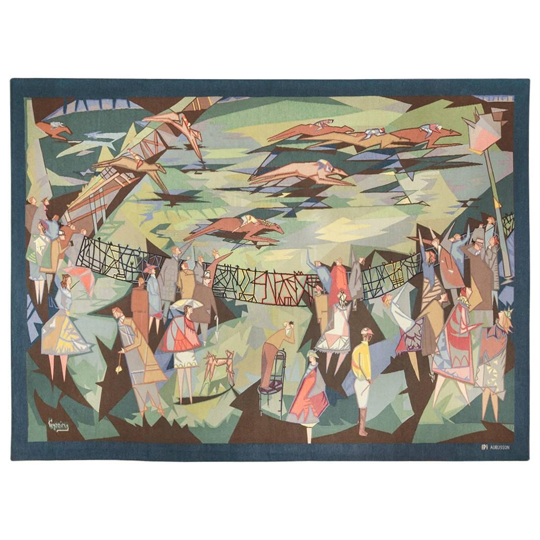 """French Vintage Horse Racing Tapestry by Lars Gynning. Size: 7' 2"""" x 9' 8"""""""