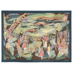 French Vintage Midcentury Horse Racing Tapestry by Lars Gynning