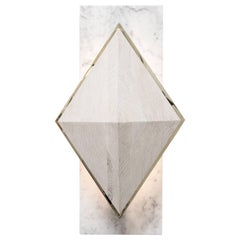 INES SCONCE - Hand-Carved Oak Diamond with Brass Revel on a Marble Back Plate