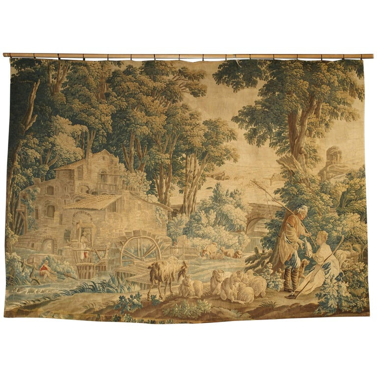 Silk and Wool Aubusson Pastoral Watermill Tapestry, circa 1760