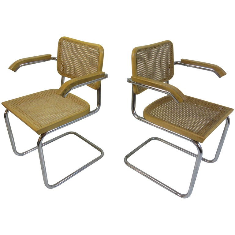 Marcel Breuer Cesca Arm Chairs by Gavina For Sale
