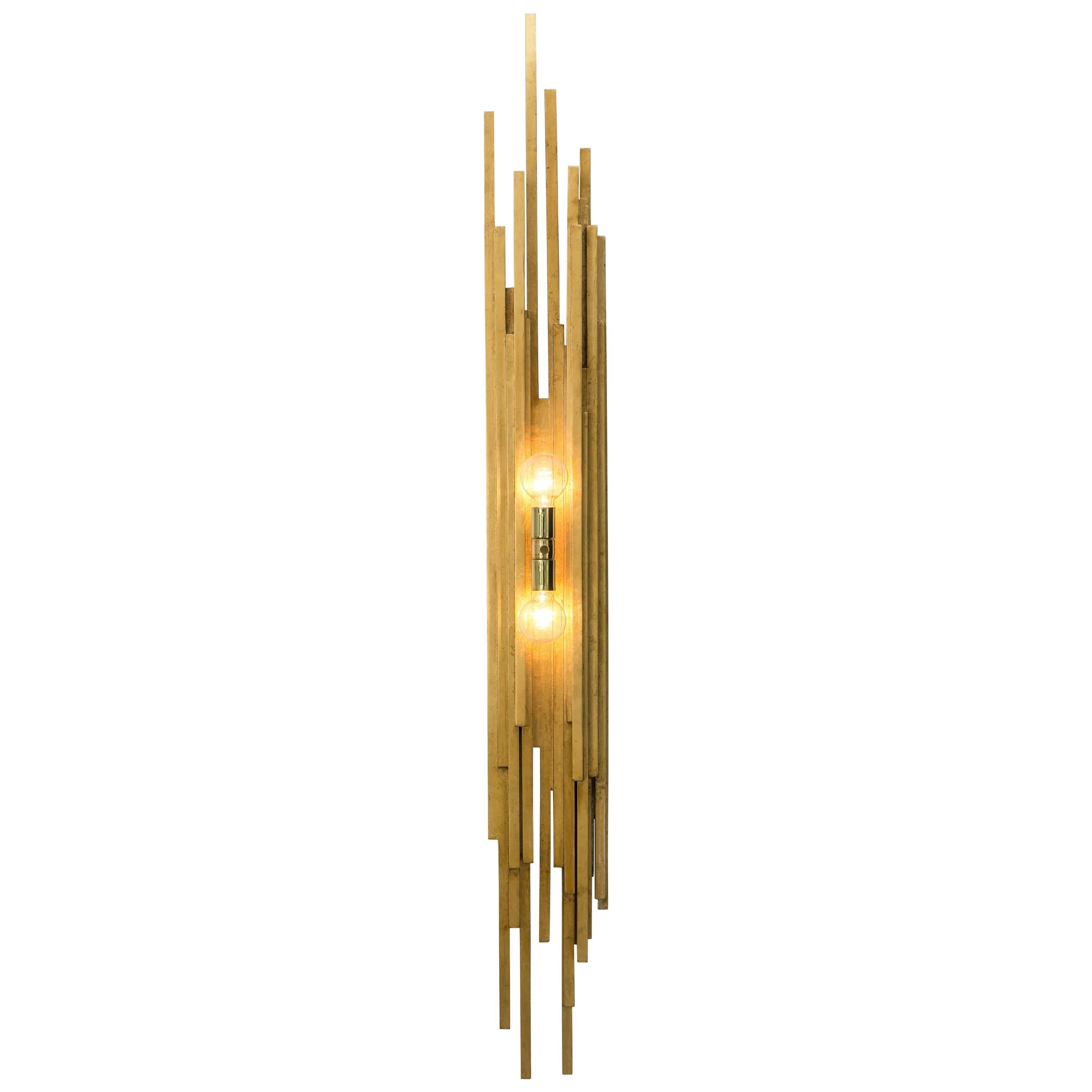 AMBROISE SCONCE - Modern Gold Leaf Sconce with Brass Details