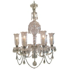 Early 20th Century Irish Crystal Chandelier with Hurricane Shades