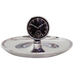 German Art Deco Chrome Cigar Desk Ashtray with Mechanical Clock