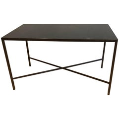 French Bronze Metal and Black Glass Coffee Table, circa 1960s