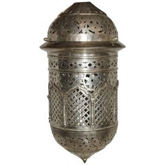 Hammered Pierced Silver Plated Lantern