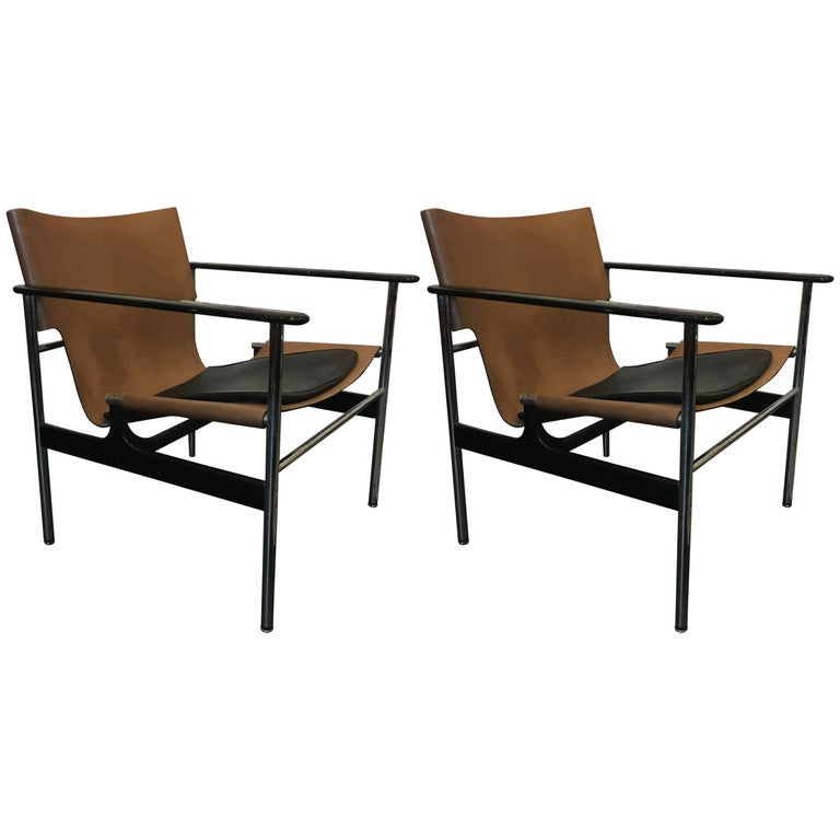 Charles Pollock Sling Lounge Chairs, Pair for Knoll 1960