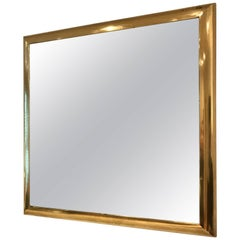 Square Gilt Metal Framed Mirror, French, circa 1970s