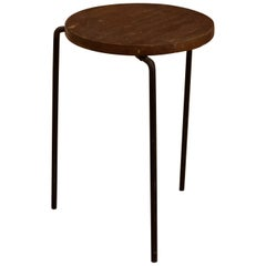 Mid Century Luther Conover Style Mahogany and Iron Side Table