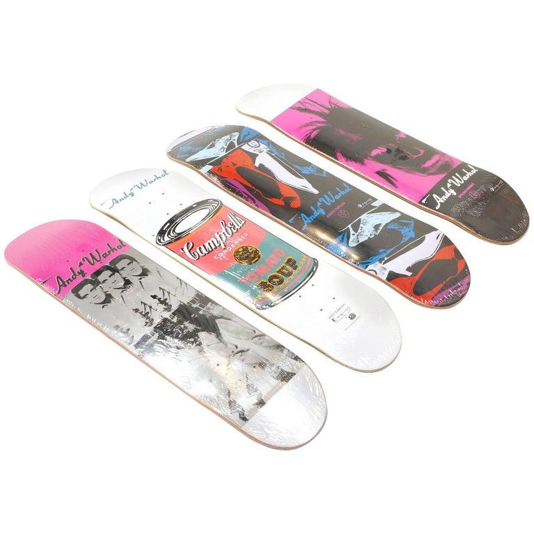 Andy Warhol Skateboard Decks, Set of Four, Three Elvis, Campbells Soup