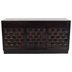 Elegant Woven Front Credenza by Edward Wormley for Dunbar