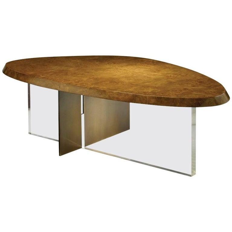 Coffee Table Mappa Burl Wood Brown Bronze Acrylic Lucite