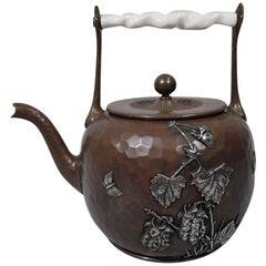 Gorham Japonesque Mixed Metal and Hand-Hammered Copper Teapot
