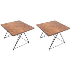Pair of 1960s Martin Eisler Brazilian Caviuna and Metal Side Tables