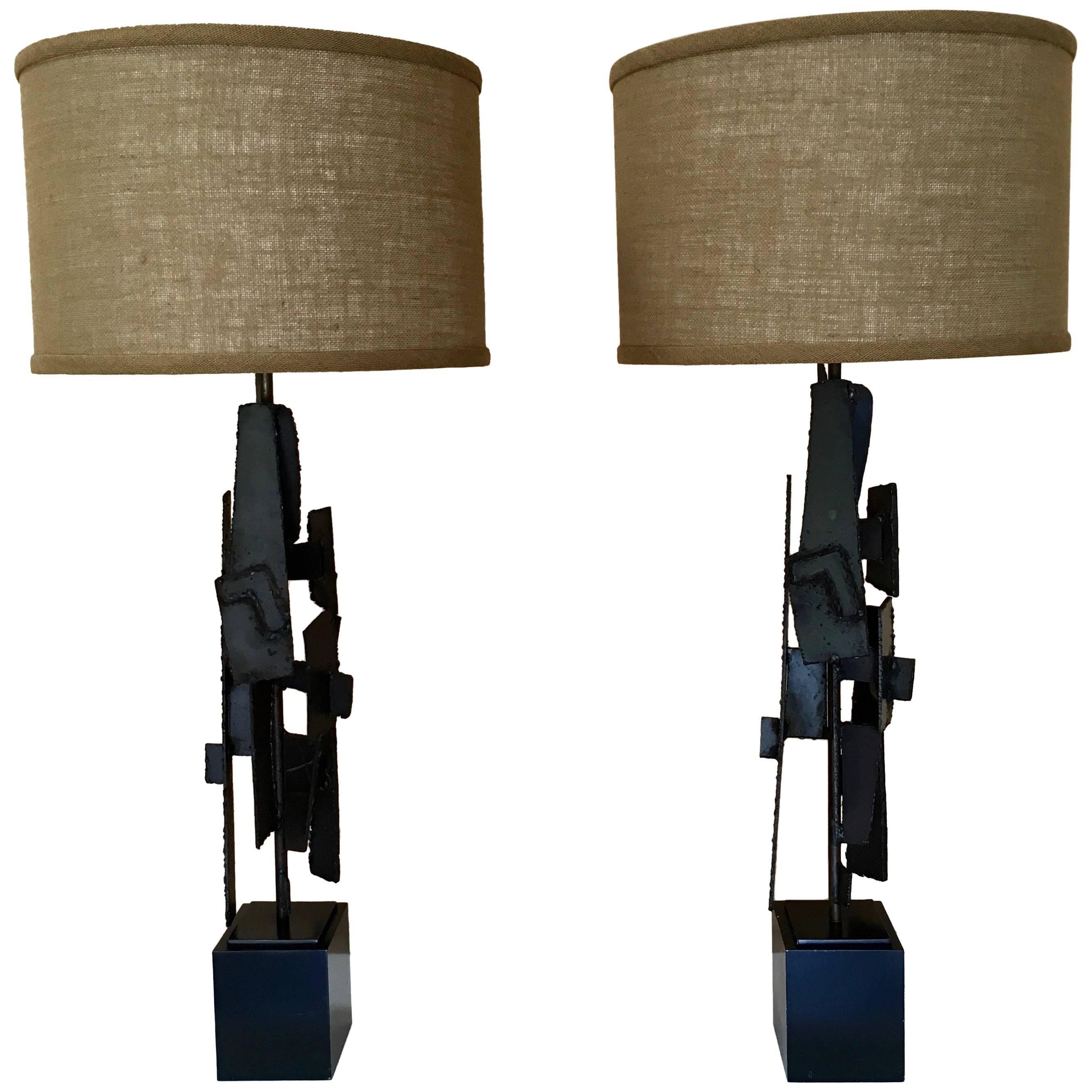 Pair of Sculptural Torch Cut Lamps by Richard Barr