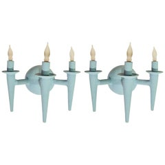 Pair of Avron Sconces by Bourgeois Boheme Atelier, Blue Finish