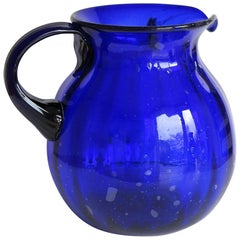 Hand-blown Large Glass Jug or Pitcher Cobalt Blue Vertically Fluted, Circa 1920s
