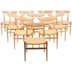 "Set of Ten Side Chairs by Hans Wegner Model ""W2"""