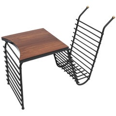 Metal and Brazilian Jacaranda 1960s Side Table and Magazine Rack