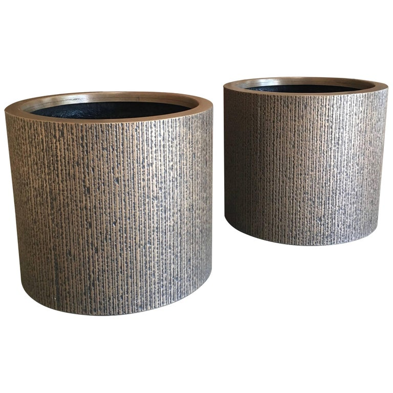 Pair of Forms and Surfaces Fiberglass Planters