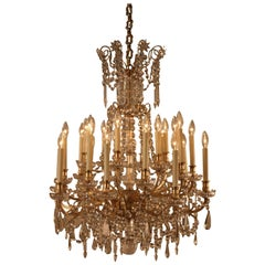 19th Century French Crystal and Bronze Chandelier by Baccarat