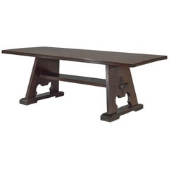 1900s Solid Oak American Arts and Crafts Trestle Farm Table