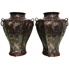 Pair of Japanese Art Nouveau Style Vases