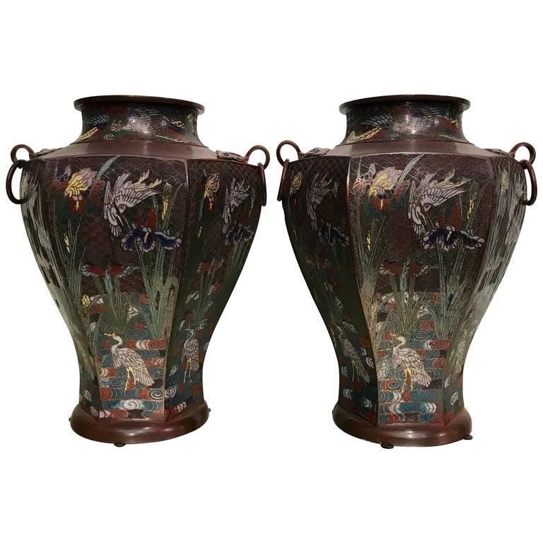 Pair of Japanese Art Nouveau Style Vases