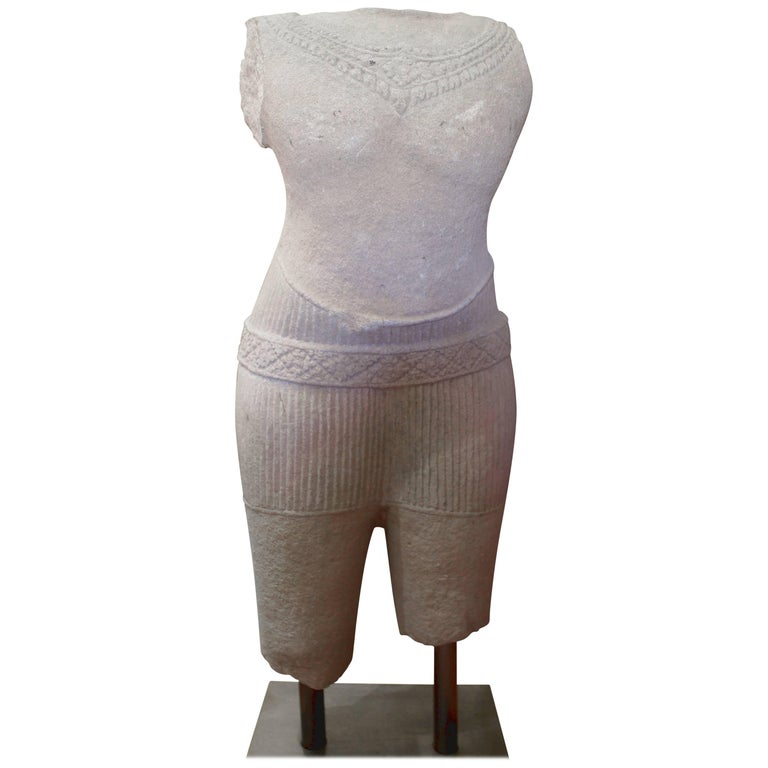 Bust Cambodia Temple Sandstone Angkor Wat Male Torso Headless, 12th Century