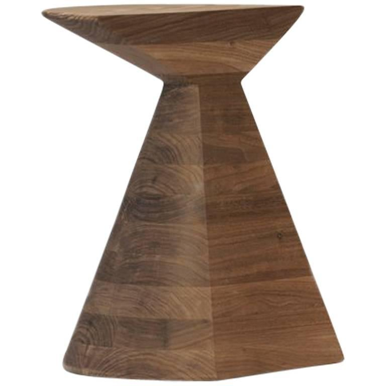 'Ban' Stool in Walnut Hardwood, Small For Sale