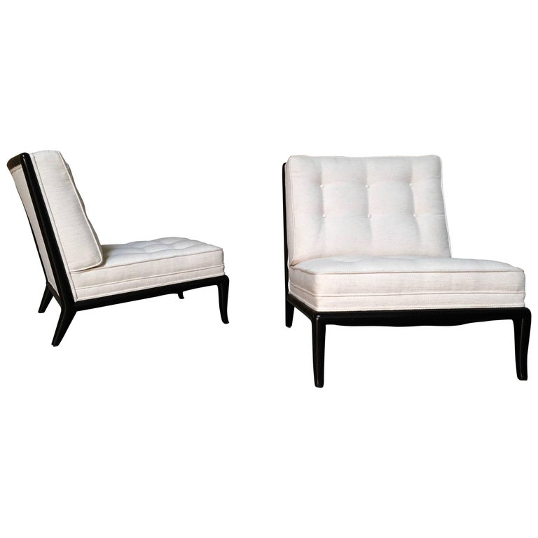 Pair of Ebonized Lounge Chairs in the Style of Robsjohn-Gibbings