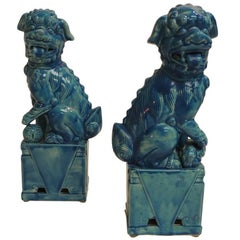 CLOSE OUT SALE: Pair of Vintage Ceramic Turquoise Foo Dog on Stand