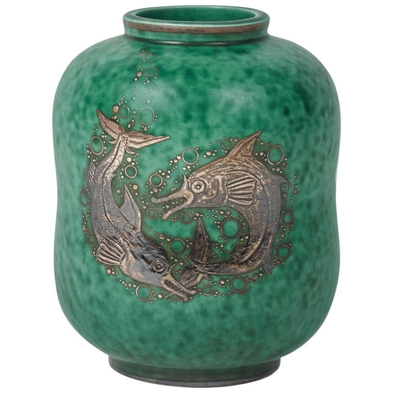 Wilhelm Kåge 'The Argenta Series' Vase, Sweden, circa 1930s For Sale