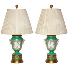 Pair of Apple Green Ground Pate -Sur-pate Table Lamps