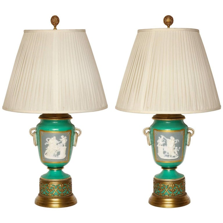 A Pair of Green Ground Pate -Sur-pate Table Lamps For Sale