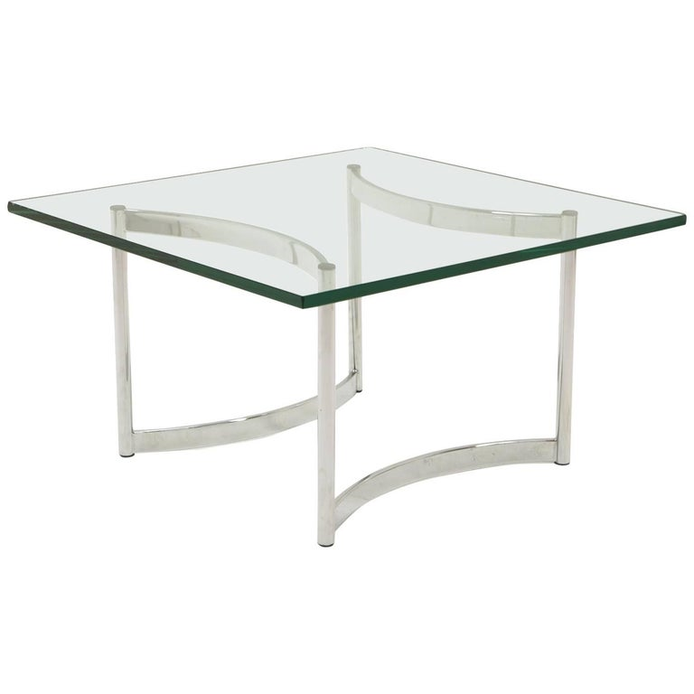 Square Glass and Chrome Coffee Table