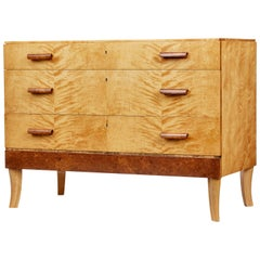Mid-20th Century Burr and Birch Scandinavian Chest of Drawers