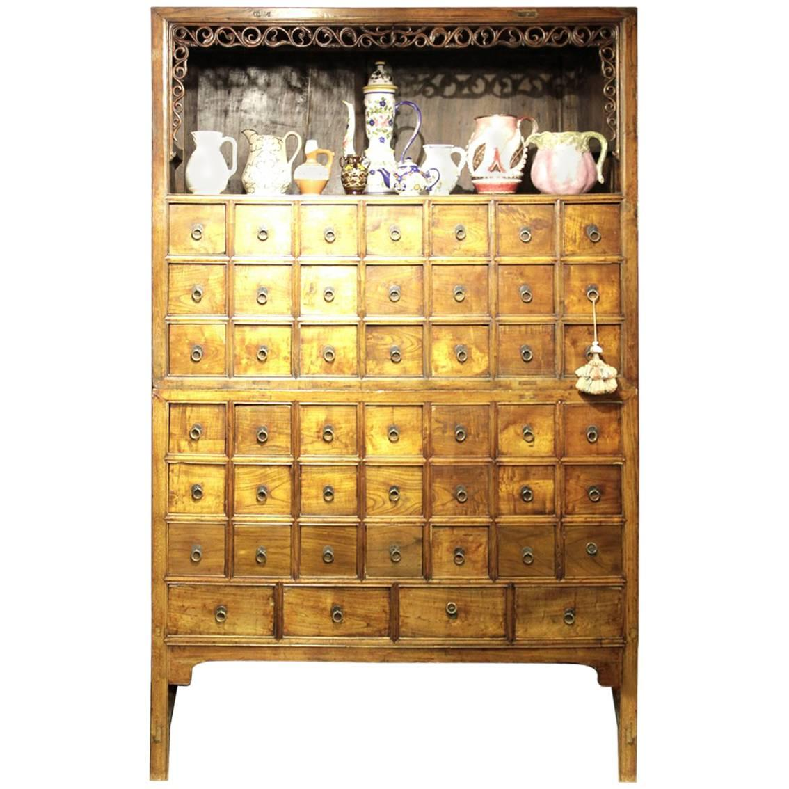 Apothecary Cabinet Chinese 1900s Wood Brown Storage
