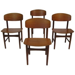 1950s Danish Teak Dining Chairs by Borge Mogensen, Set of Four