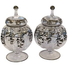 Pair of Antique Glass Jars with Silver Etching
