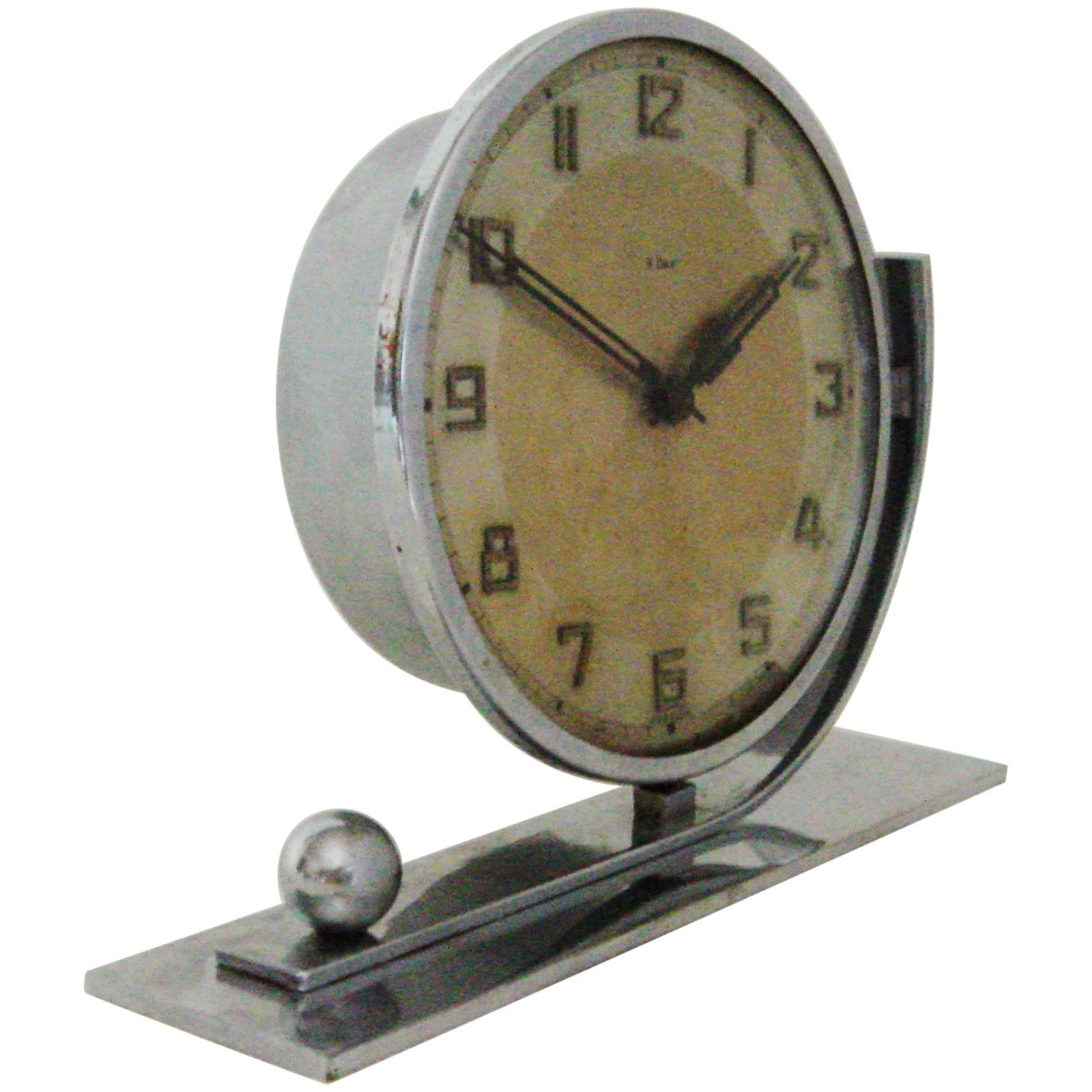German Art Deco Chrome Asymmetrical 8-Day Mechanical Desk Clock