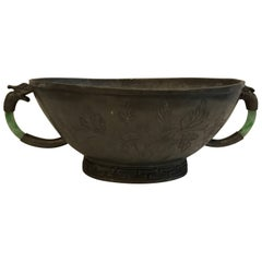 Early 20th Century Pewter/Jade Handled Chinese Cachepot