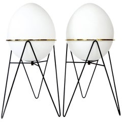 Pair of Egg or Uovo Floor Lamps by Stilnovo