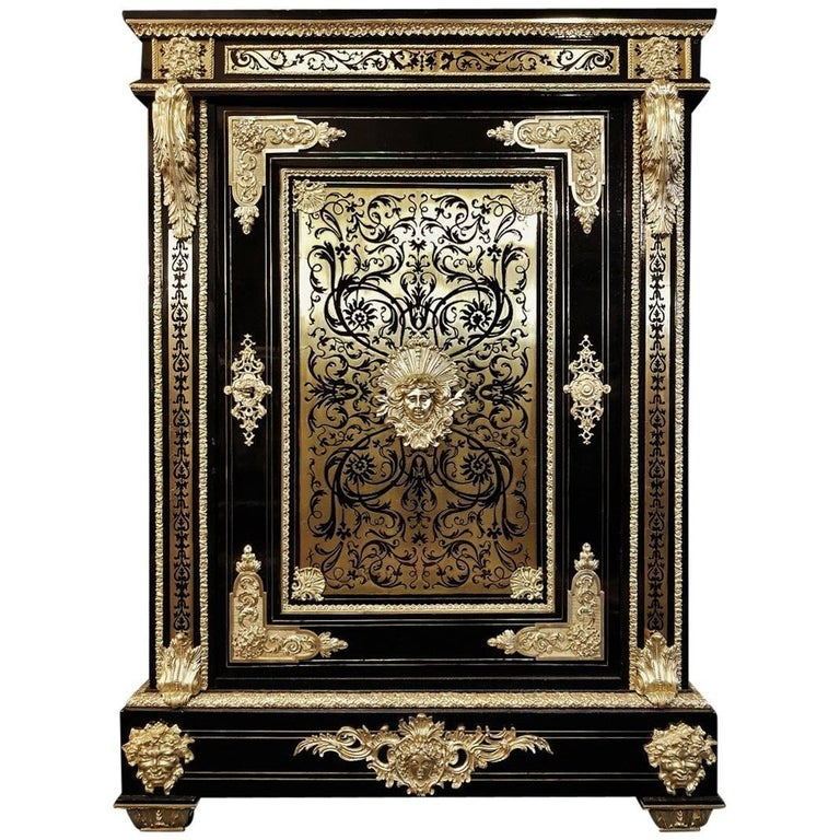 Rare Sun King Big Cabinet Armoire, Boulle Marquetry, Napoleon III, 1850, France